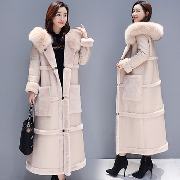 Autumn Winter Lamb Fur Coat Women Plus Size Loose Korean Big Fur Collar Hooded Long Faux Leather Thick Warm Jacket Coat Female thicken fur faux fur coat female korean version of the fashion slim in the long hooded raccoon fur fur coat womens fur jacket
