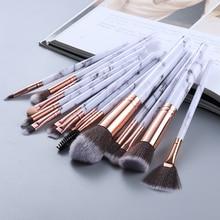 Fld5/15 pces pincéis de maquiagem conjunto cosméticos pó sombra de olho fundação blush blush mistura beleza compõem kabuki escova ferramentas maquiar
