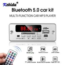 Kebidu Módulo de placa decodificadora de MP3 con Bluetooth 5,0, reproductor de música MP3 para coche inalámbrico, pantalla LED, compatible con ranura para tarjeta TF, USB, FM + mando a distancia