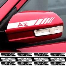 Carro 2 peças Preto/branco Espelho Retrovisor Lateral Decalque Tarja Esporte Emblema Etiqueta Para AUDI A1 A2 A3 A4 A5 A6 Q1 Q2 Q3 Q4 Q5 Q6 Q7 Q8