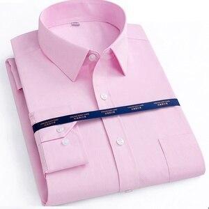 Image 4 - Herfst Mannen Plus Size Office Shirt Lange Mouw Winter Katoen 8XL 10XL 12XL Oversize Gestreepte Shirt Zakken Formele Shirt Blauw zwart