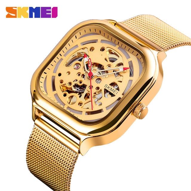 SKMEI Fashion Quartz Watch Men Mechanical Automatic Watches Waterproof Hollow Art Stainless Steel Strap Male Clock montre homme