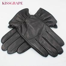 2020 męskie oryginalne skórzane rękawiczki dla mężczyzn zimowe ciepłe rękawiczki owcza skóra wewnątrz z polaru męskie rękawice do jazdy na nadgarstku tanie tanio KISSGRAPE Dla dorosłych Prawdziwej skóry Patchwork Nadgarstek Moda