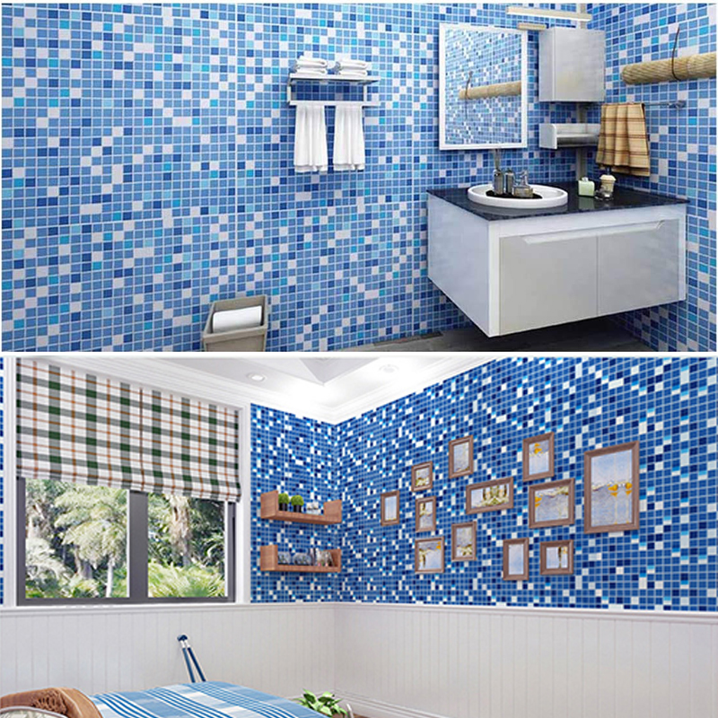 Waterproof Self-Adhesive Wallpaper Kitchen Oil-Proof Bathroom Toilet Wall Papers PVC Mosaic Imitation Tile Pattern Sticker Blue