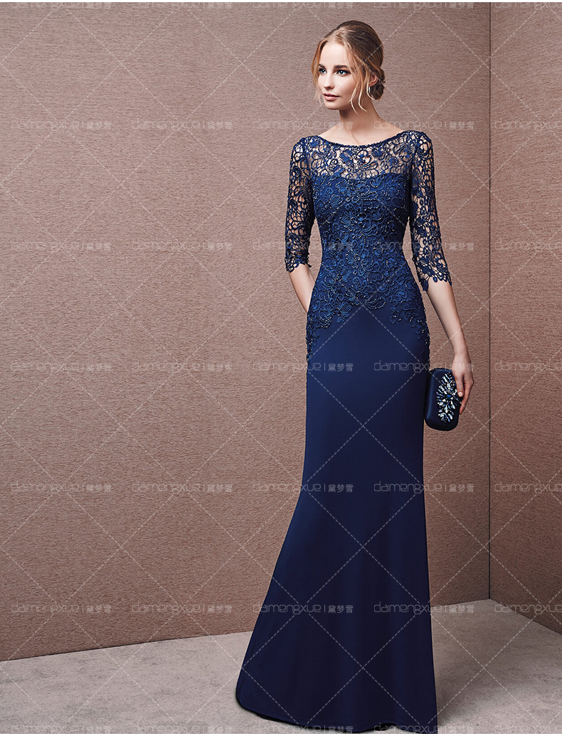 2019 Vestidos Backless Beading Chiffon Lace Mermaid Formal With Half Sleeve Long Prom Robe De Soiree Mother Of The Bride Dresses