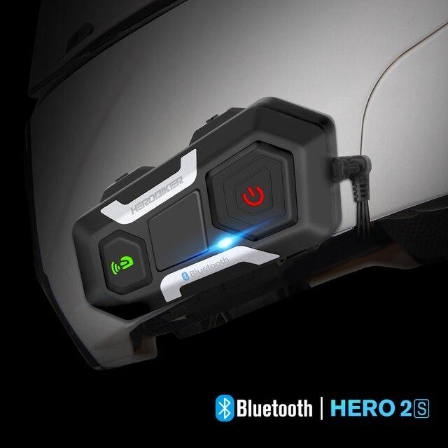 HEROBIKER Motorcycle Helmet Intercom Waterproof Wireless Bluetooth Intercom Motorcycle Headset Interphone For 3 Rides 1200M