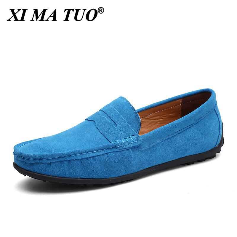 Luxury Italian Brand Casual Shoes Men Suede leather Moccasins For Men Penny Loafers 2021 Slip On Men Shoes Plus Size Skor