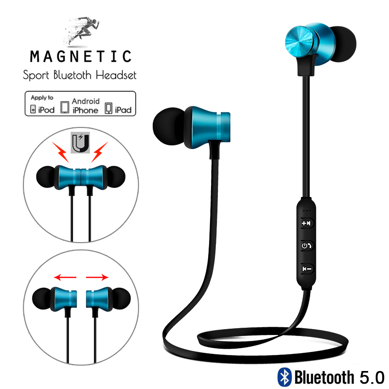 Magnetic Bluetooth Earphones Wireless Earbuds 3D Stereo Sport Handsfree Earphone In Ear Headset With Mic For Apple IPhone Xiaomi