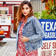 BEFORW 2019 Fashion Letter Embroidery Button Women Winter Denim Jacket Coat Casual Fall Long Sleeve Pocket Crop Jeans Jackets