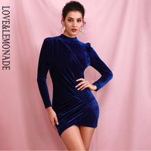 LOVE&LEMONADE Sexy Navy Stand Collar Sleeve Stitch Elastic Tan Goose Down Bodycon Party Mini Dress LM82166