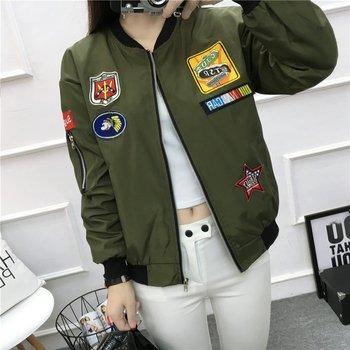 Fashion Women's Baseball Jacket New Wild Round Neck Korean Version Thin Waist Casual Windbreaker Women Zipper Loose Love Jacket
