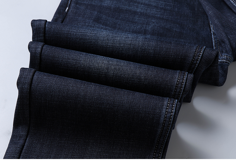 KSTUN Winter Denim Jeans Male Business Casaul Straight Fit Warm Jeans Dark Blue Stretch Jeans Thicken Raw Denim Trousers Fleece 21