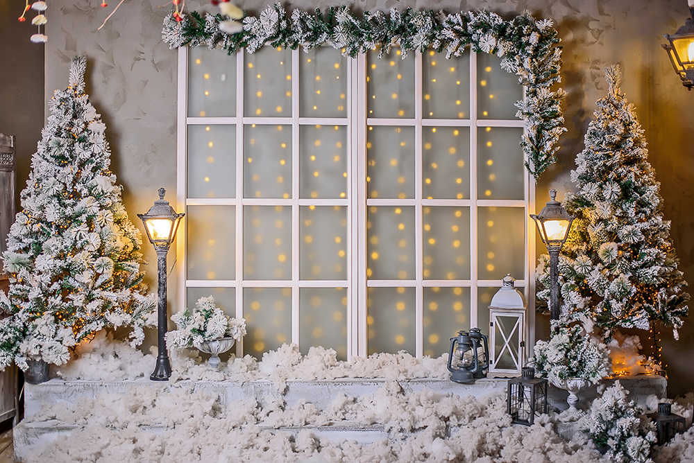HUAYI Photo Studio Backdrops for Kids Christmas Photography Winter Noel Xmas Trees Warm Our Nest Barn Lights Decorations Baby Portrait Photoshoot Back Drops Rustic Wooden Wall Wallpaper