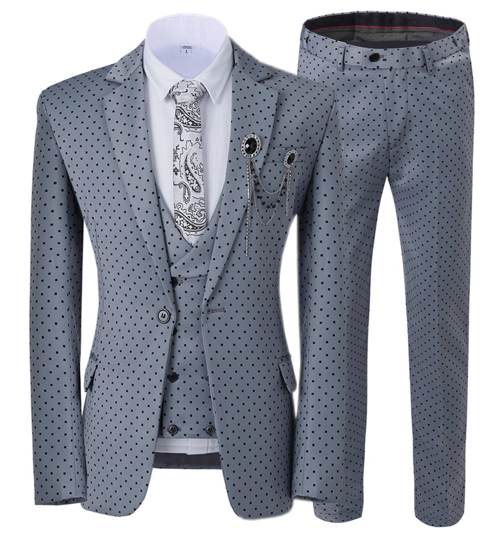 Formal Business 3 Pieces Men Suit Slim Fit Notched Lapel Dots Tuxedos Groomman For Wedding Pink Grey (Blazer+Vest+Pants)