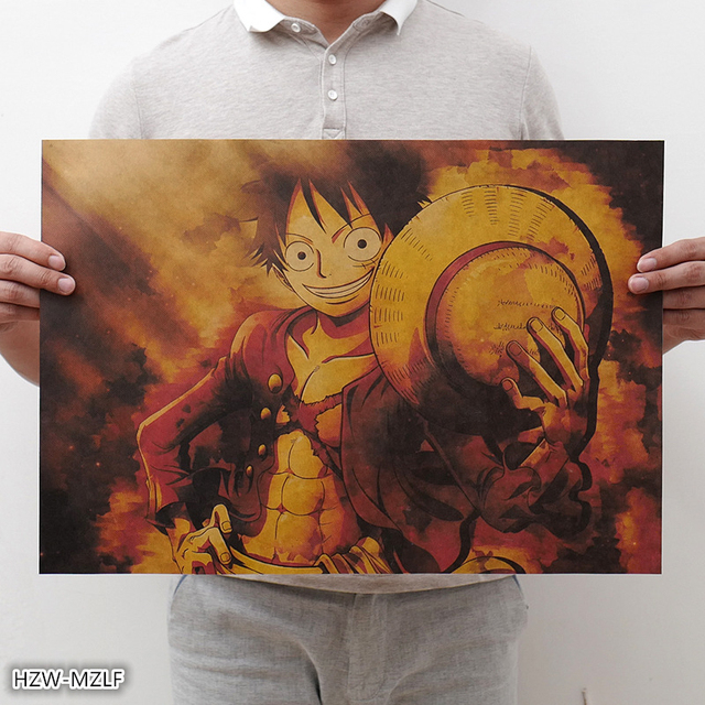 New One Piece Poster vintage Classic Anime Cartoon Kraft Paper Poster Painting Wall Stickers Home Decorative wall art 7