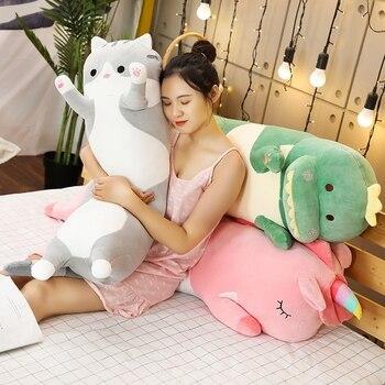1pc 70/90/120CM Cartoon Animal Dinosaur Unicorn Cat Plush Toys Stuffed Soft Long Sleeping Pillow Dolls Children Birthday Gift