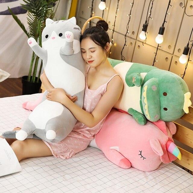 1pc 70/90/120CM Cartoon zwierząt dinozaur jednorożec kot zabawki pluszowe nadziewane miękkie długie poduszka do spania lalki prezent urodzinowy dla dzieci