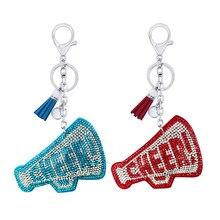 Criativo coreano flanela strass cheer pequeno trompete chaveiro pingente borla fresco pingente saco do carro acessórios