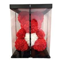Urso de rosa artificial 40cm feminino, urso de rosas e flores artificiais, presente de natal e casamento, dropshipping, 2020