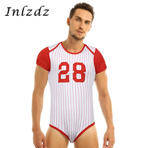 Image 1 - Мужское нижнее белье, пеленки для влюбленных, комбинезон, пижамы для взрослых, для малышей, с вырезом, прессованным шаговым швом, бейсбольная тематика, комбинезон, боди