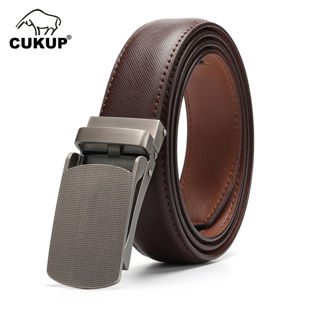 Men/'s Genuine Leather Ratche Belts With Automatic Buckles Casual Dress Belt
