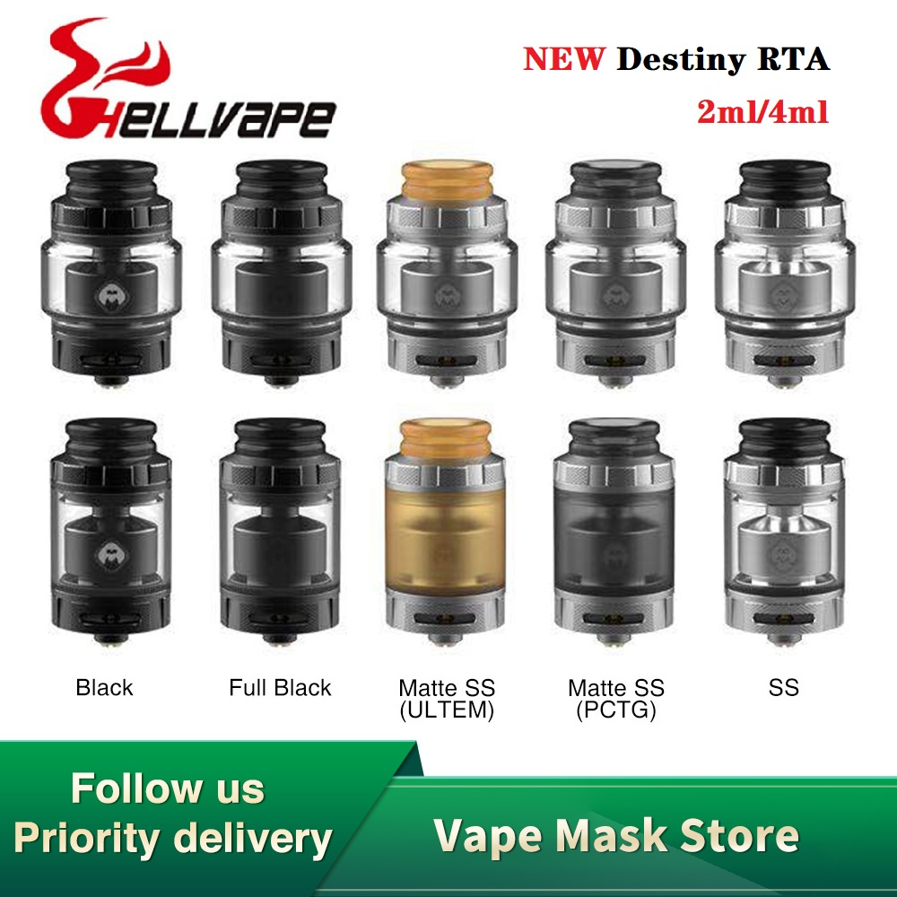 Original Hellvape Destiny RTA 2ml/4ml With Single Coil Building Deck 24mm RTA 510 Thread Vape Tank Vs Hellvape Dead Rabbit RTA