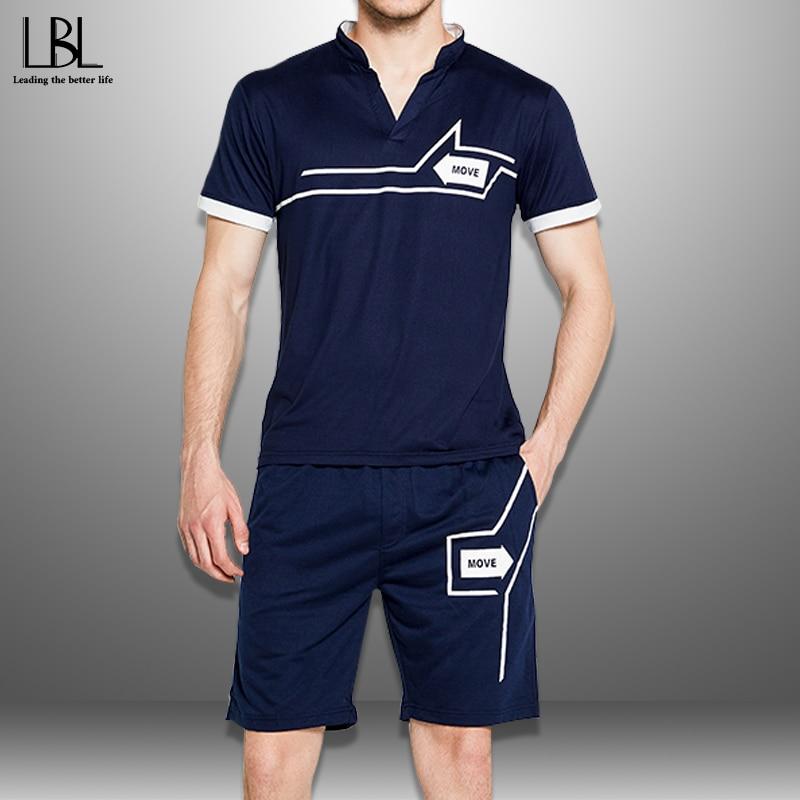 Summer Tracksuit Men 2020 Casual Short Sets New Fashion Sports Suit Man Printing T Shirts + Shorts 2 Piece Set Men's Sportswear