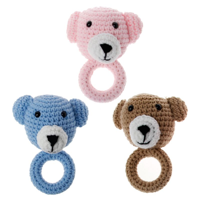 Newborn Baby Animal Rattle Toys Wooden Teething Ring Newborn Sensory Toy Shower Gift Safe