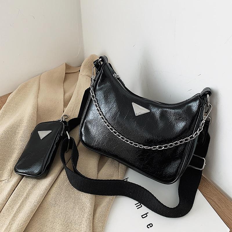 Women Pu Handbag Nylon Shoulder Bags For Wome 2020 New Designer Luxury Crossbody Messenger Bags Female 2 Pices Set Bag