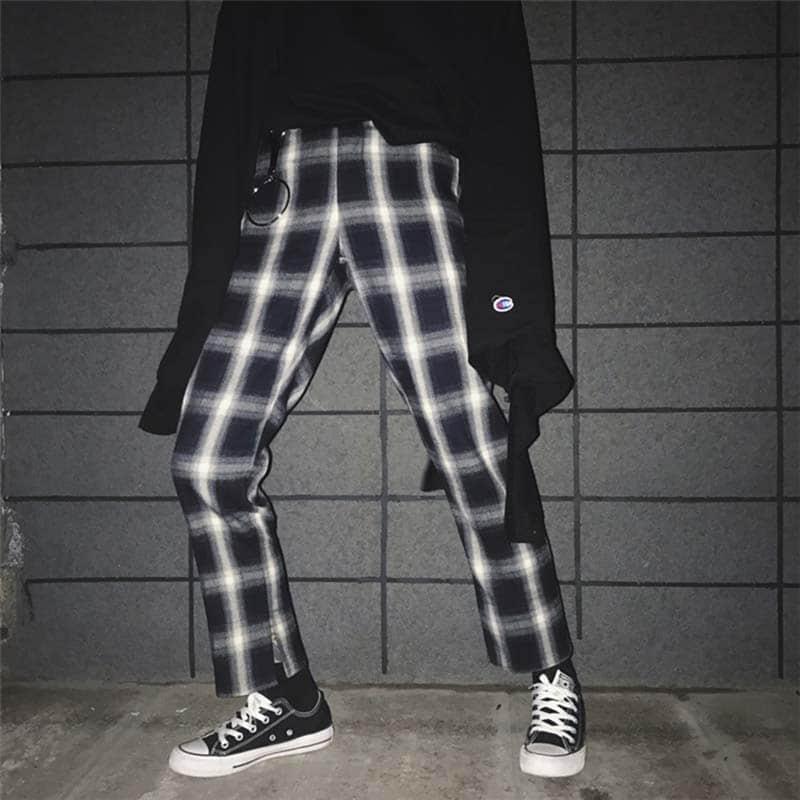 NiceMix Korean Ulzzang Split Pants With Ring Black White Lattice Casual Pants Japanese Harajuku Street Fashion Female Pen