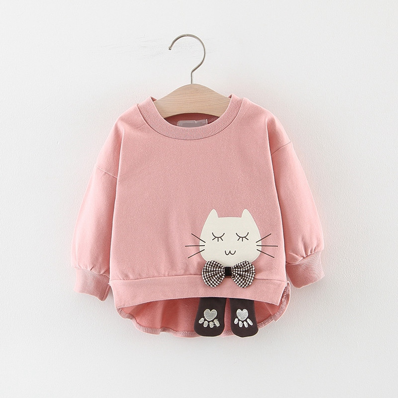 Spring Autumn Girls Sweatshirts Baby Infants Girl Clothes Kids Toddler Cartoon Cat Bow Long Sleeve Pullover Tops Outwear WT769