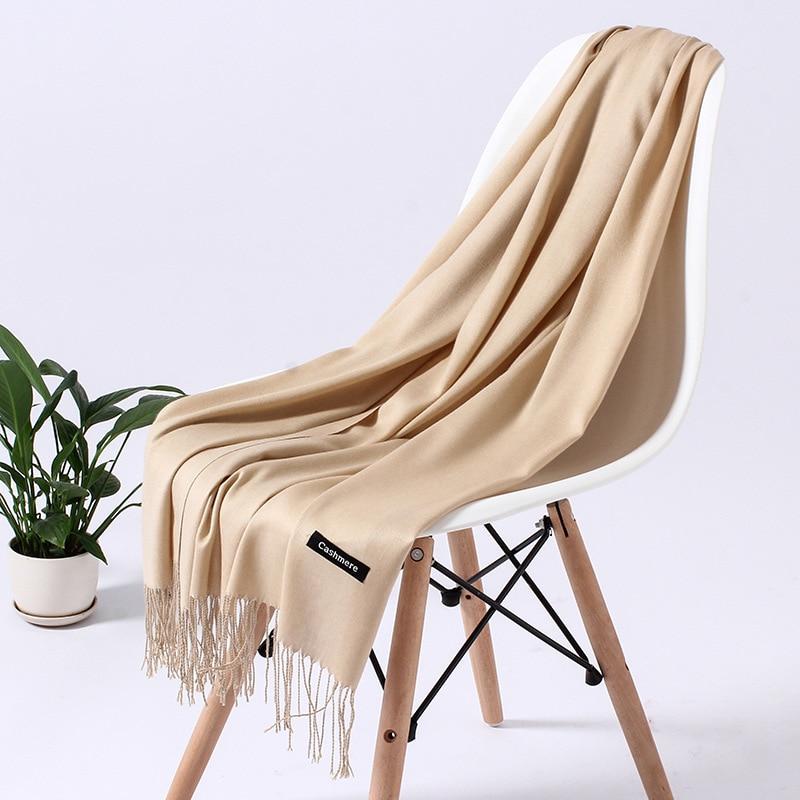 Однотонный кашемировый шарф для женщин новые длинные мягкие шали и палантины пашмины модные хиджаб с кисточками женские шейные шарфы - Цвет: 110gkhaki