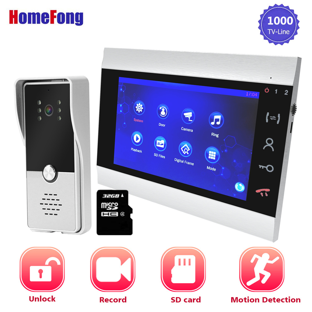 Homefong7 Inch Video Door Phone Video Doorbell Intercoms For A Private House Record Motion Detection SD Card