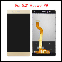 For 5.2 Huawei P9 EVA-L09 EVA-L19 LCD Display Digitizer Touch Panel Screen Assembly with Frame Free Tools 100% Tested original tested lcd for huawei p9 lite display touch screen with frame for huawei p9 lite 2016 lcd display vns l31 l21 l19