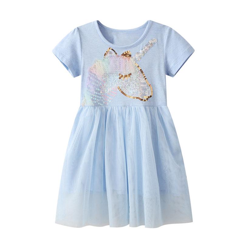 Infant Baby Kids Dresses for Girls Short Sleeve Dress Black Sequined Star Clothing Summer Casual Dress Unicorn Children Costume 5