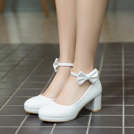 Anne ve Çocuk'ten Deri Ayakkabılar'de Yaz PU deri prenses kız düğün parti ayakkabıları yay düğüm çocuk yüksek topuklu ayakkabılar büyük kızlar parti dans deri sneakers title=