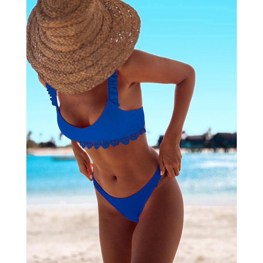 Sexy Print Bikinis 2019 Women Swimsuit Ruffled Swimwear Female Halter Bathing Suit Beach Wear Brazilian Maillot De Bain Biquinis