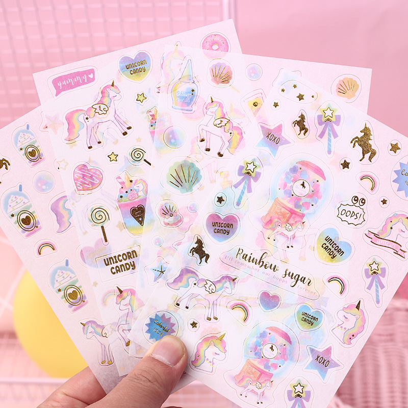 4 Pcs/set New Arrival Candy Unicorn Washi Paper Stickers DIY Scrapbooking Diary Bullet Journal Stickers Travel Stationery Gift