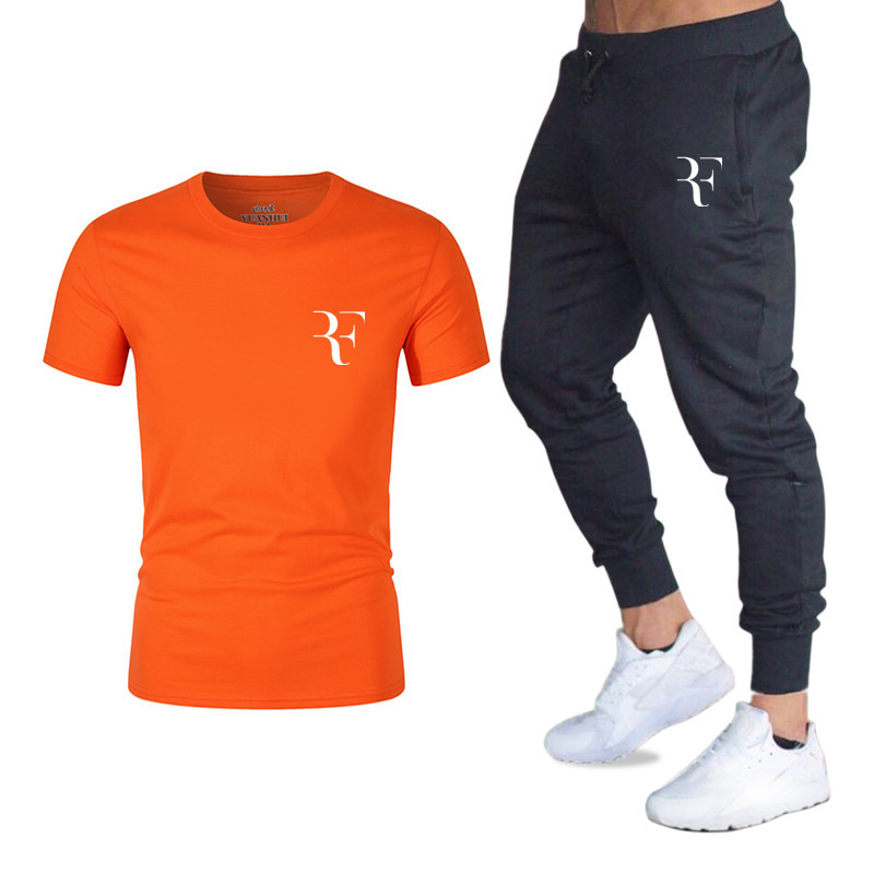 New Hot Sale Men 39 s Sets T Shirts pants Two Pieces Sets Casual Tracksuit Male Casual Tshirt Print Roger Federer Rf Trousers Men in Men 39 s Sets from Men 39 s Clothing