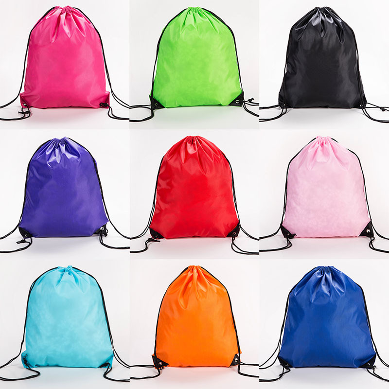 Portable Drawstring Bag Oxford Students Backpack Waterproof Sports Riding Backpack Gym Drawstring Shoes Clothes Organizer Pack