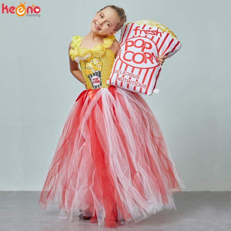 Circus Popcorn Girl Tutu Dress Carnival Birthday Party Wedding Flower Sequin Ball Gown Costume Kids Pop Corn Food Tulle Dress 2