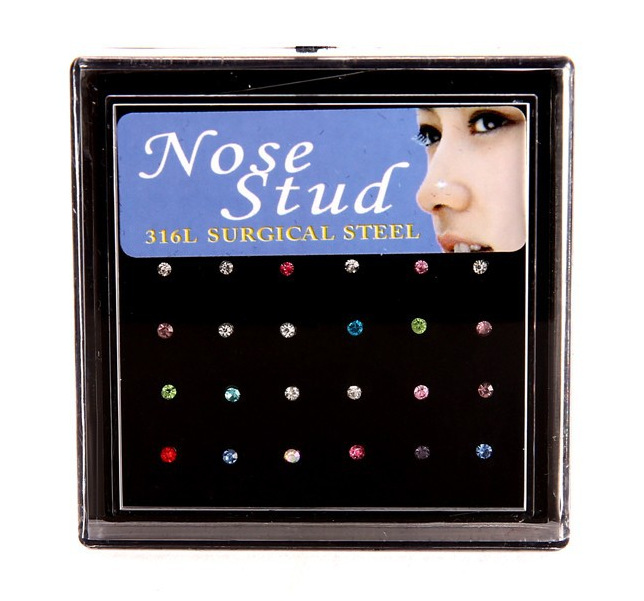 Wholesale Stainless Steel Nose Piercing Earrings Rhinestone Nose Studs Pins for Women Silver Body Piercing jewelry