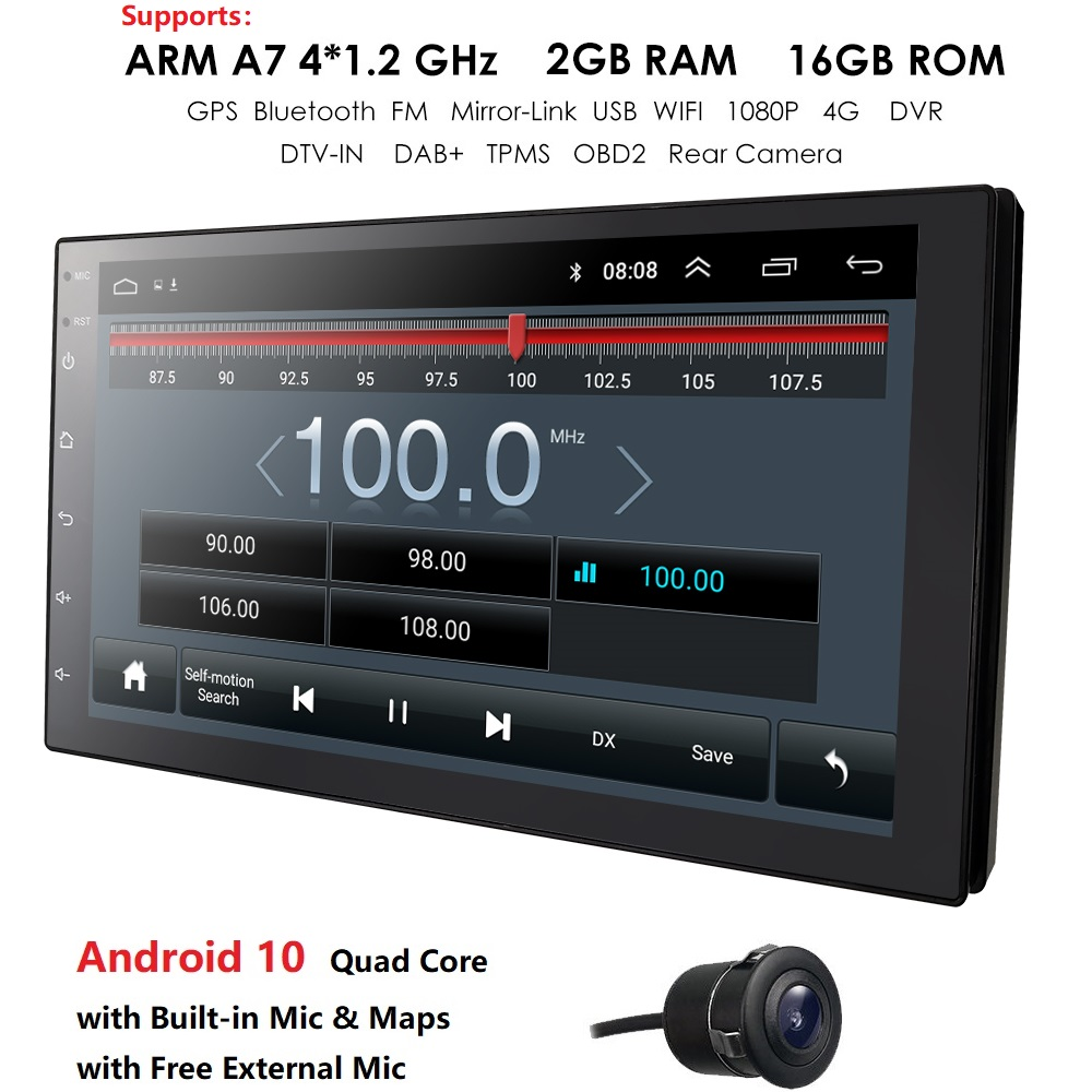 Universal 2 din Android 9.0 Quad Core Car Multimedia Player GPS Wifi BT Radio 4G SIM Network Steering wheel DAB Mic USB Navi Map|Car Multimedia Player| |  - title=