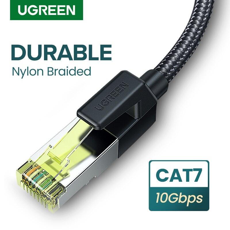 Ethernet-кабель UGREEN CAT 7, прочный нейлоновый Плетеный интернет-провод CAT7, Lan-кабель для PS 4, маршрутизатора, CAT 7, 10 Гбит/с, RJ45 кабель Ethernet