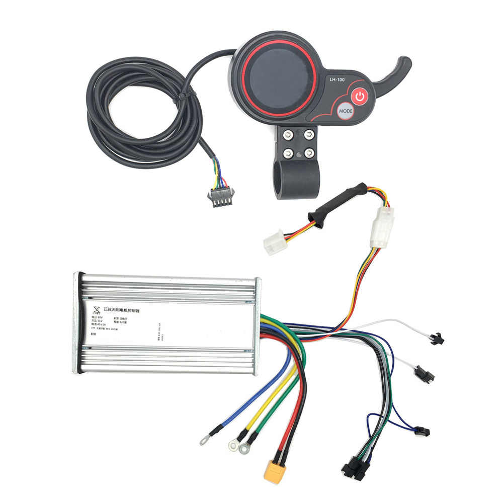 YunLi 60V 45A Scooter Controller and Display Accelerator for Dual engines electric scooters  LH-100 display mother board