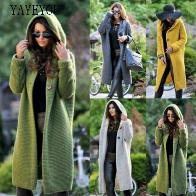 YAYEYOU 2020 Spring Autumn Winter Women Long Sweater Loose Knitting Cardigan Hooded Coat Plus Size Green Blue Grey Red White