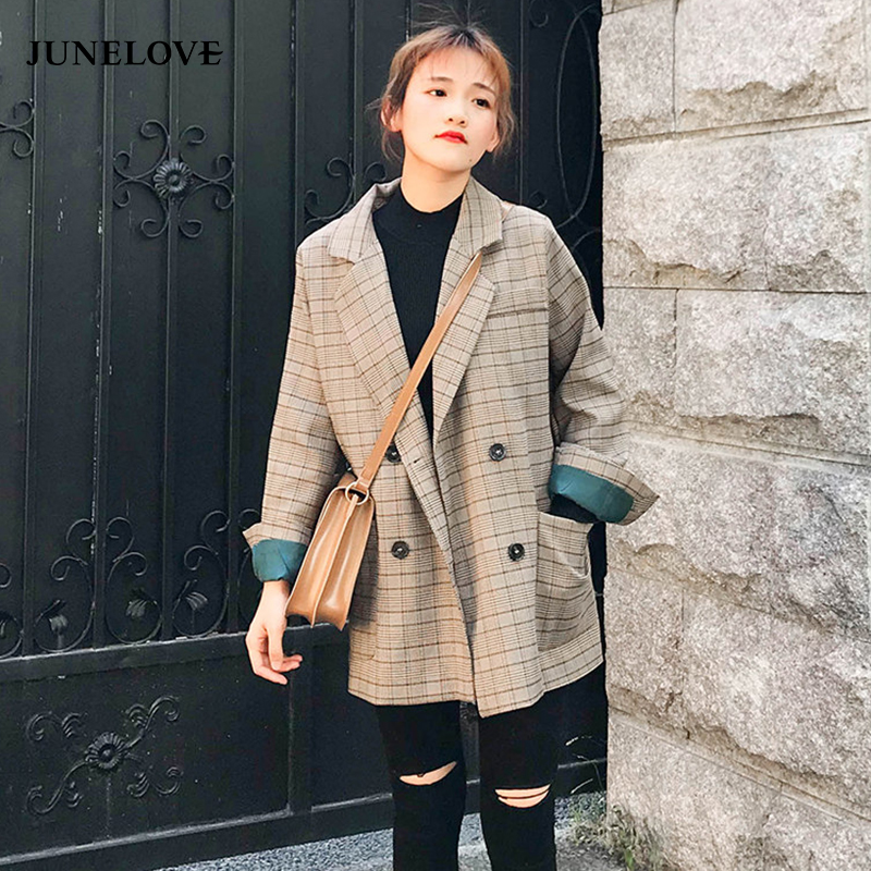 Women Jacket Blazer Coat Outwear Suits Classic Plaid Female Vintage Autumn Double-Breasted