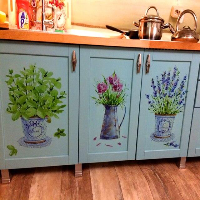DIY настенные наклейки домашний декор горшок для комнатных цветов бабочка кухня Окно Стекло наклейки для ванной водонепроницаемый Бесплатн...