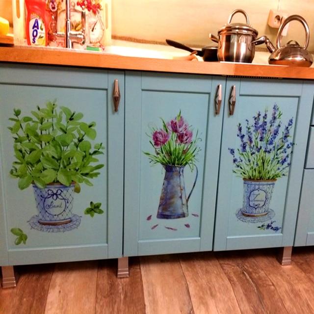DIY настенные наклейки домашний декор горшок для комнатных цветов бабочка кухня Окно стекло ванная комната наклейки водонепроницаемый Бесп...