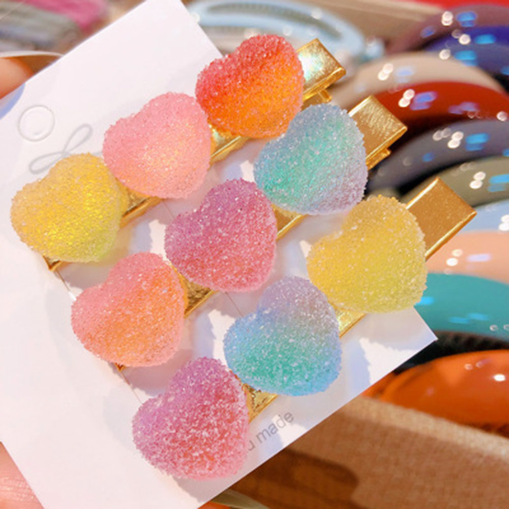 New Korea Sweet Heart Candy Color Minimalist Hair Clip Hair Grip Lovely Barrettes Hairpin Hair Accessories For Women